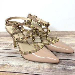 Sole Society Tiia Studded Heels Tan Gold Strappy